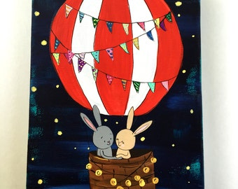 Hot Air Balloon Bunnies 6 x 9 Original Painting on Canvas