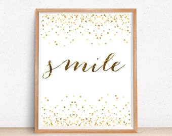 Smile Wall Art Print, Nursery Wall Art, Printable Nursery Wall Art, Smile Print, Gold Confetti Nursery, Inspirational Quote, Typography Art