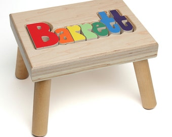 Name Puzzle Stool, Custom Name Puzzle Stool, Baby Gift, Nursery, Wooden Name Puzzle Stool, Baby Gift, Wooden Name Puzzle, Personalized,
