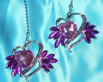 Set of Two ~ Purple Heart Rhinestone Metal ~ Ceiling Fan Pulls