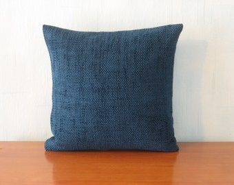 "Dark blue - Turquoise - Aquamarine - Velvet - Handmade - Throw pillow  - Cushion - Cover - 40 cm x 40 cm (16"" x 16"")"