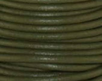 "2mm Round Mahandi Green Leather Lace Cord - 2mm 3/32"" Diameter Dark Olive Moss Craft Jewelry Bracelet Wrap Necklace - I ship Internationally"