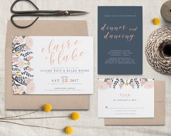 Navy and Pink Floral Wedding Invitation Suite