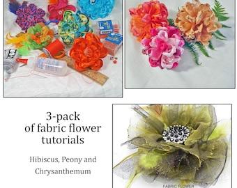 3 Pack of Flower Tutorials - Easy Handmade Flowers - Hibiscus, Chrysanthemum, Peony