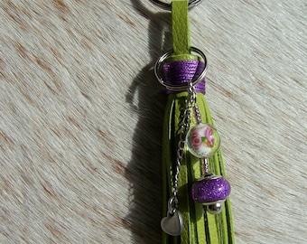 Green leather jewelry, Keychain jewelry leather tassel bag Green leather, leather tassel keychain