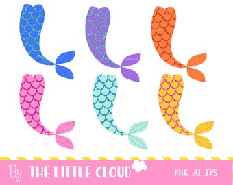 Glitter mermaids tails clip art, diy party, vector, fairy tale, kids birthday