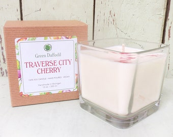 Traverse City Cherry Soy Candle - 12 oz. Glass Cube - Green Daffodil - Hand poured -CG