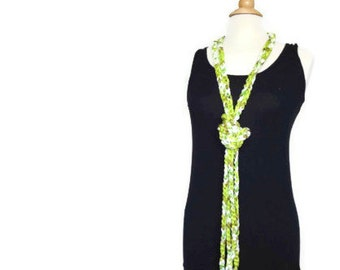 Green crochet necklace, crochet rope necklace, lime green statement necklace, green cowl necklace, gift for her, mothers day gift
