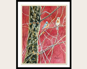 Bluebirds Watercolor Painting Print, maroon Red, Black,Blue, Rust, 5x7, 8x10