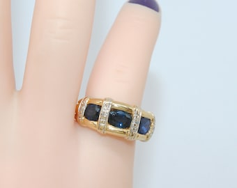 18K gold / very nice ring Gold 2 tone 18K - diamonds - sapphires - 18 k gold - 750/1000