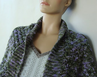 Pashmina Shrug, Shrugs, Shrug, Lavender Pashmina, Cashmere Wrap, Gift for Her, Forest Green/Lilac Pashmina Shrug, Hand Crocheted