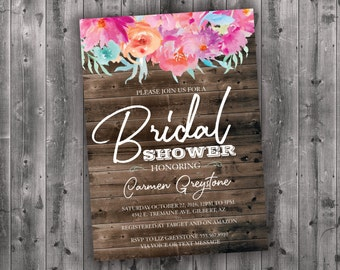 Floral Bridal Shower Invitations, Bridal Shower Invitation, Bridal Shower Invite, Bridal Shower, Bridal Invitation, Wedding Shower