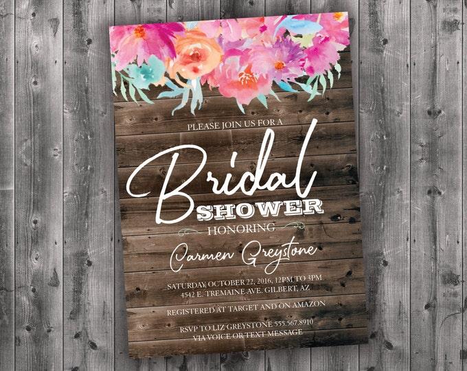Floral Bridal Shower Invitations, Bridal Shower Invitation, Bridal Shower Invite, Bridal Shower, Bridal Invitation, Wedding Shower