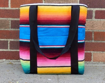 Handmade Serape Tote Bag From Mexican Blanket