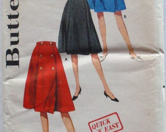 Women's 1960's  Coachman Wrap Skirt Sewing Pattern - Butterick 5147 - Waist 26 - Uncut