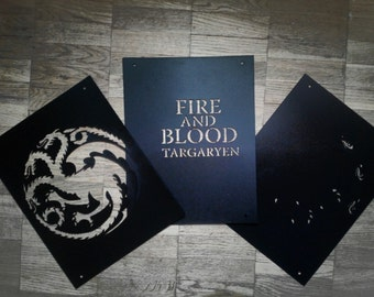 House Targaryen Sigil/ Set of 3 reusable plastic Stencils Wall decor/ Game Of Thrones/ Fire and Blood