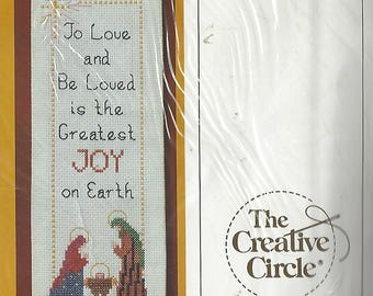 """80s Christmas Joy Bellpull Creative Circle Counted Cross Stitch Kit 2162 By Denise May-Levenick Christmas Bellpull Kit 4"""" x 14 NIP"""