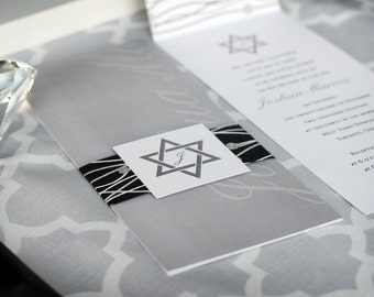 Modern Bar Mitzvah Invitation with Swirls and Star of David – Deposit Listing