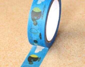 Blue Cloud & Cartoon Airplane Washi Tape (2C-49)