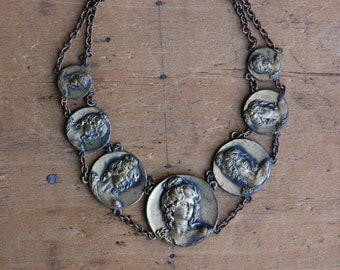 Vintage 1930s repoussé brass medallion collar with Edwardian lady