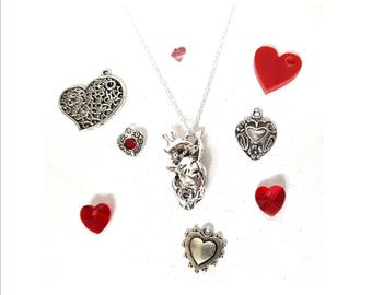 Valentines Day silver anatomical heart necklace with extra add-on charms anatomy biology pendant WITH CHAIN
