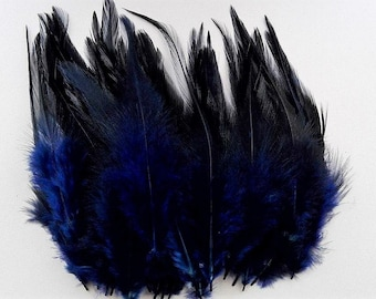 set of 50 dark blue feathers mixed 10-15cm