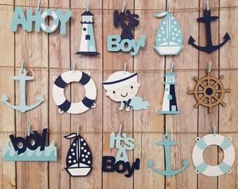 Ahoy It's A Boy Garland, It's A Boy Nautical Garland, Shower Decoration, Ahoy Nautical Boy Garland, Nautical Die-Cut Garland
