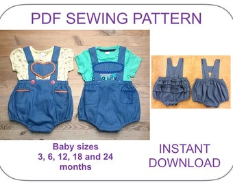 BABY lederhosen bloomers PDF pattern.  Romper,onesie, bloomer, diaper cover pattern for babies. Baby overall pattern. Baby shorts pattern.