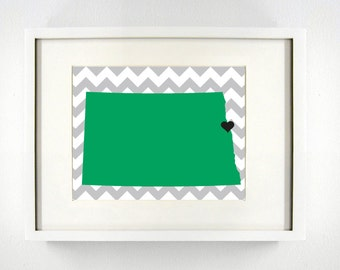 Grand Forks, North Dakota Giclée Map Art Print  - 8x10 -  Graduation Gift Idea - Dorm Decor