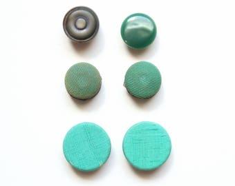 Magnets - Vintage Green Button Magnets, Fridge Magnets, Unique Magnets