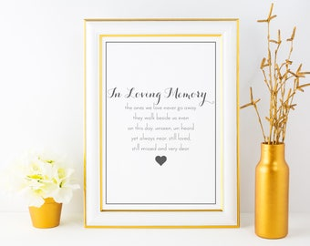 In Loving Memory Sign | Wedding Ceremony Reception Decor Poster Sign |  Printable PDF Modern Rustic Floral Love Family Deceased