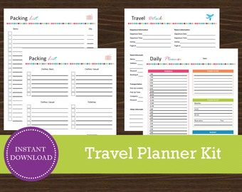 Travel Planner Kit - Vacation Planner - Printable and Editable - INSTANT PDF DOWNLOAD - 4 Pages