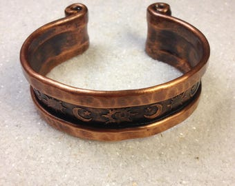 Stars moons sun handmade hammered copper cuff