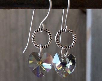 Hypoallergenic - Pure Titanium Earrings - Hypoallergenic Earrings - Dangle Earrings - Women's Jewelry - Heart Earrings - Swarovski Earrings
