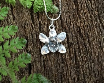Silver orchid, orchid necklace, orchid pendant, gift for mum, plant lovers gift, botanical jewellery, flower necklace, gift of love