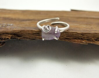 Ring, Sterling Silver and Charoite Adjustable Wrap Ring, Hand Forged Ring, Freesize, Silver and Purple Dress Ring, Wrap Around Silver Ring