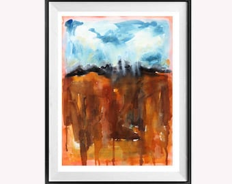 Bold Abstract Painting, Original Abstract Sale, Drip Art, Drip Painting, Modern Abstract, Abstract landscape, Blue, Orange, Painting
