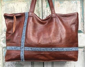 Brown Italian Leather Weekender Bag, Whiskey Hide, Diaper Bag, Work Bag, Leather Carry on, vintage Blue Textile Trim highlights