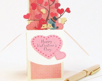 3D Valentines Day Card, Valentines Gift Idea, Valentines Day Decor, Love Pop Up Card Love Birds Gift Card Holder Happy Valentine's Day Card
