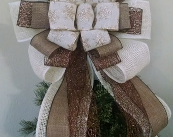 Extra Large Burlap Tree Topper -Christmas Tree Topper Bow -Snowflake Tree Topper - Burlap Tree Topper Bow - Rustic Tree Top *FREE SHIPPING**