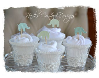 Baby Shower Table Decor, Mint Gray Baby Shower Table Centerpieces, Baby Washcloth Gift Set, Unique Baby Gift, Elephant Cupcake Toppers