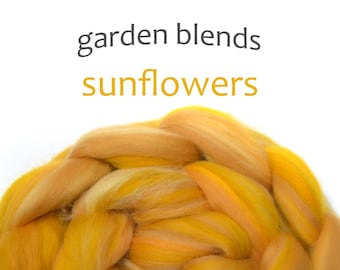 Blended Merino roving - spinning fiber - 100g/3.5oz - yellows - Garden Blend - SUNFLOWERS