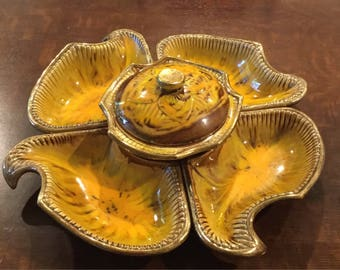 Vintage Lazy Susan California Pottery Originals Appetizer Chip and Dip set made in the USA  144-63 2363