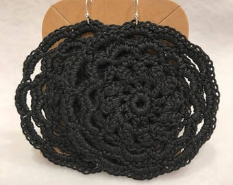 Black mandala crochet lace earrings large