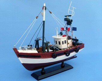 """Wooden Stars and Stripes Model Fishing Boat 14"""""""