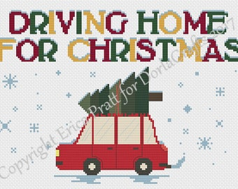Driving Home For Christmas Cross Stitch Pattern PDF Download