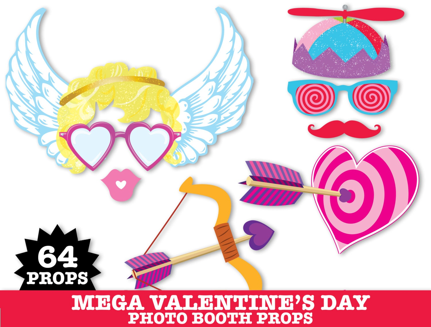 Fresh Valentines Day Photo Booth Props,Wedding Props,Cupid,Kissing Booth  YQ78