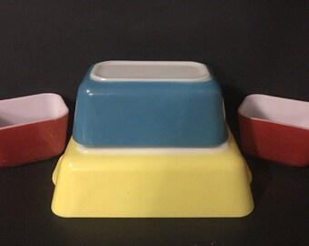 4pc Vintage Pyrex Refrigerator Set Primary Colors- 501 RED, 502 BLUE, 503 YELLOW