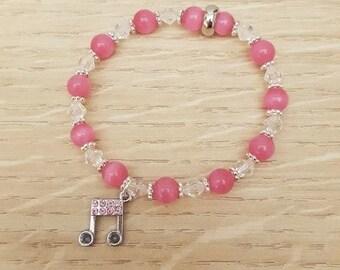 Pink Cats Eye Bracelet, Music Charm Bracelet, Girls Musical Bracelet, Music Jewellery Jewelry, Aqua Bracelet, Music Note Bracelet, Musician