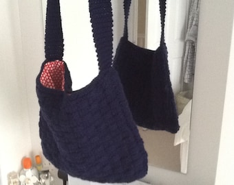 Navy hand knitted bag